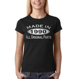 Made In 1990 All Original Parts Silver Womens T Shirt-Gildan-Daataadirect.co.uk
