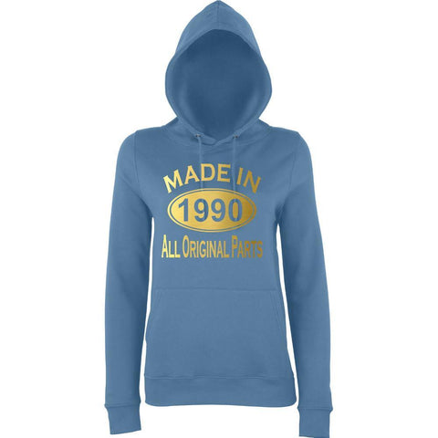 Made In 1990 All Orignal Parts Women Hoodies Gold-AWD-Daataadirect.co.uk