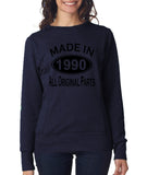 Made in 1990 All Original Parts Women Sweat Shirts Black-ANVIL-Daataadirect.co.uk