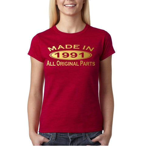 Made In 1991 All Original Parts Gold Womens T Shirt-Gildan-Daataadirect.co.uk