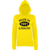 Made In 1991 All Orignal Parts Women Hoodies Black-AWD-Daataadirect.co.uk
