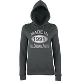 Made In 1991 All Orignal Parts Women Hoodies Silver-AWD-Daataadirect.co.uk
