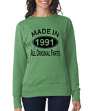Made in 1991 All Original Parts Women Sweat Shirts Black-ANVIL-Daataadirect.co.uk