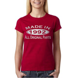 Made In 1992 All Original Parts Silver Womens T Shirt-Gildan-Daataadirect.co.uk