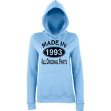 Made In 1993 All Orignal Parts Women Hoodies Black-AWD-Daataadirect.co.uk