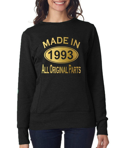 Made in 1993 All Original Parts Women Sweat Shirts Gold-ANVIL-Daataadirect.co.uk
