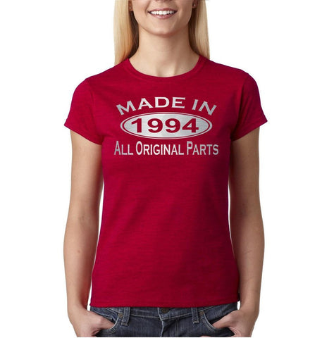 Made In 1994 All Original Parts Silver Womens T Shirt-Gildan-Daataadirect.co.uk