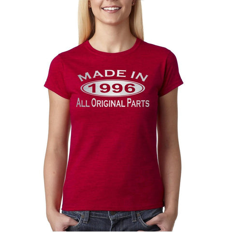 Made In 1996 All Original Parts Silver Womens T Shirt-Gildan-Daataadirect.co.uk