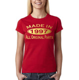 Made In 1997 All Original Parts Gold Womens T Shirt-Gildan-Daataadirect.co.uk