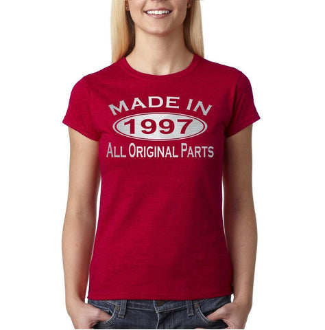 Made In 1997 All Original Parts Silver Womens T Shirt-Gildan-Daataadirect.co.uk