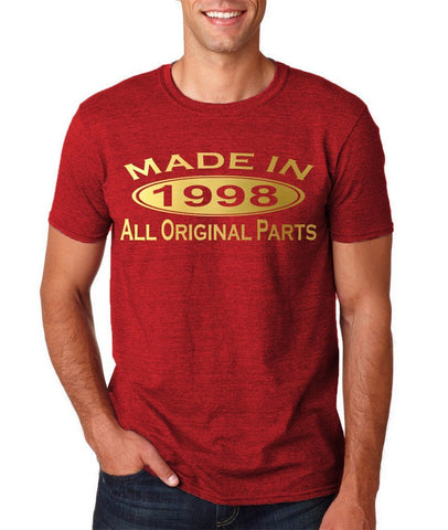 Made In 1998 All Original Parts Gold Mens T Shirt-Gildan-Daataadirect.co.uk