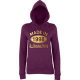 Made In 1998 All Orignal Parts Women Hoodies Gold-AWD-Daataadirect.co.uk