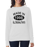 Made in 1998 All Original Parts Women Sweat Shirts Black-ANVIL-Daataadirect.co.uk