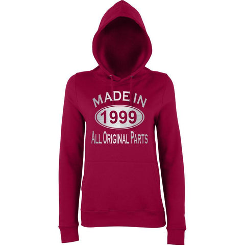 Made In 1999 All Orignal Parts Women Hoodies Silver-AWD-Daataadirect.co.uk
