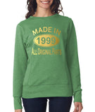 Made in 1999 All Original Parts Women Sweat Shirts Gold-ANVIL-Daataadirect.co.uk