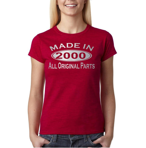 Made In 2000 All Original Parts Silver Womens T Shirt-Gildan-Daataadirect.co.uk