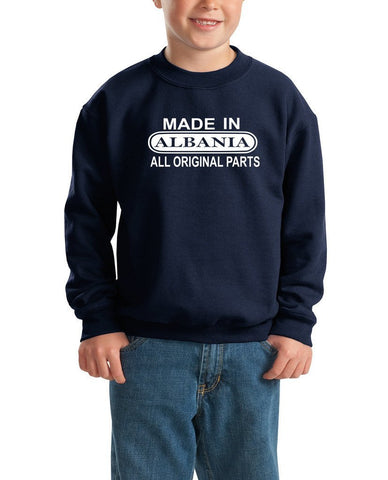 Made in Albania All Orignal Parts Kids SweatShirt White-Gildan-Daataadirect.co.uk