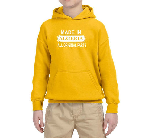 Made in Algeria All Orignal Parts Kids Hoodie White-Gildan-Daataadirect.co.uk