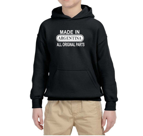 Made in Argentina All Original Parts Kids Hoodie White-Gildan-Daataadirect.co.uk