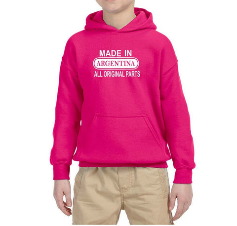 Made in Argentina All Orignal Parts Kids Hoodie White-Gildan-Daataadirect.co.uk
