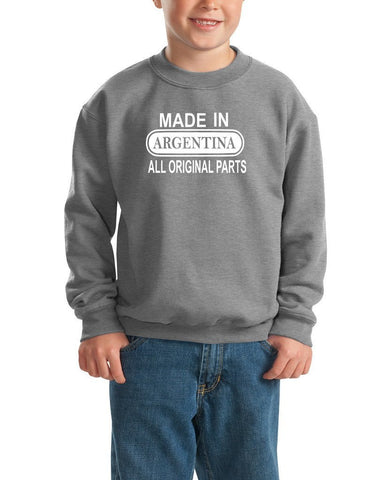 Made in Argentina All Orignal Parts Kids SweatShirt White-Gildan-Daataadirect.co.uk
