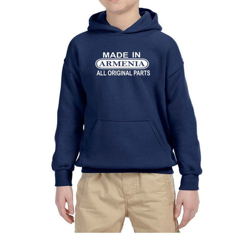 Made in Armenia All Orignal Parts Kids Hoodie White-Gildan-Daataadirect.co.uk