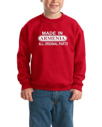 Made in Armenia All Orignal Parts Kids SweatShirt White-Gildan-Daataadirect.co.uk