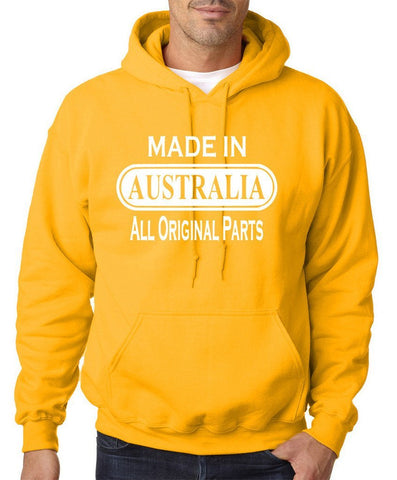 Made In AUSTRALIA All Orignal Parts Men Hoodies White-Gildan-Daataadirect.co.uk