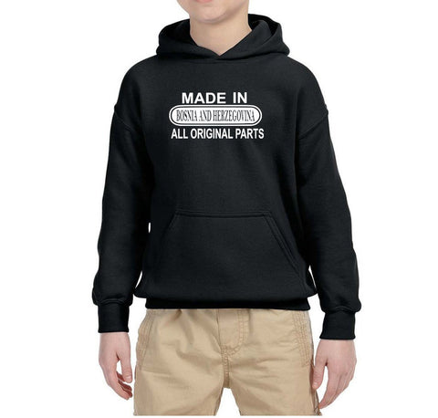Made in Bosnia and Herzegovina All Orignal Parts Kids Hoodie White-Gildan-Daataadirect.co.uk