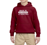 Made in Bosnia and Herzegovina All Original Parts Kids Hoodie White-Gildan-Daataadirect.co.uk