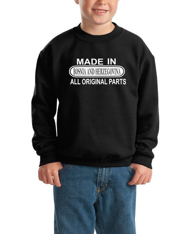 Made in Bosnia and Herzegovina All Orignal Parts Kids SweatShirt White-Gildan-Daataadirect.co.uk