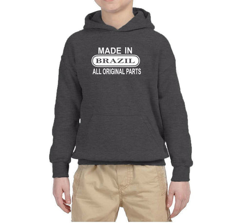 Made in Brazil All Orignal Parts Kids Hoodie White-Gildan-Daataadirect.co.uk