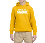 Made in Bulgaria All Original Parts Kids Hoodie White-Gildan-Daataadirect.co.uk
