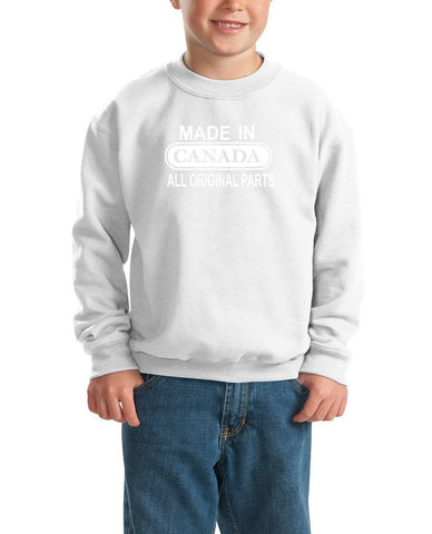 Made in Canada All Orignal Parts Kids SweatShirt White-Gildan-Daataadirect.co.uk