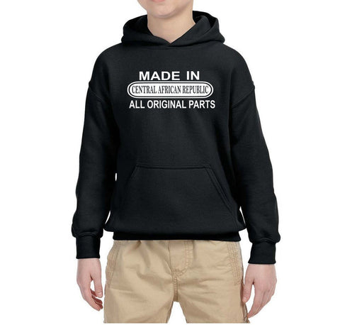 Made in Central African Republic All Original Parts Kids Hoodie White-Gildan-Daataadirect.co.uk