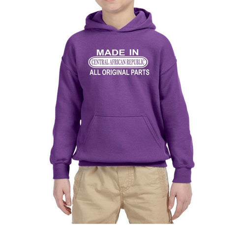 Made in Central African Republic All Orignal Parts Kids Hoodie White-Gildan-Daataadirect.co.uk