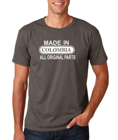 Made In Colombia All Orignal Parts Men T Shirts White-Gildan-Daataadirect.co.uk