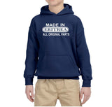 Made in Eritrea All Original Parts Kids Hoodie White-Gildan-Daataadirect.co.uk
