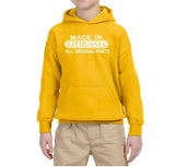 Made in Lithuania All Original Parts Kids Hoodie White-Gildan-Daataadirect.co.uk