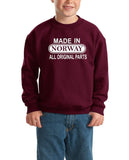Made in Norway All Original Parts Kids SweatShirt White-Gildan-Daataadirect.co.uk