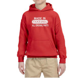 Made in Tanzania All Original Parts Kids Hoodie White-Gildan-Daataadirect.co.uk