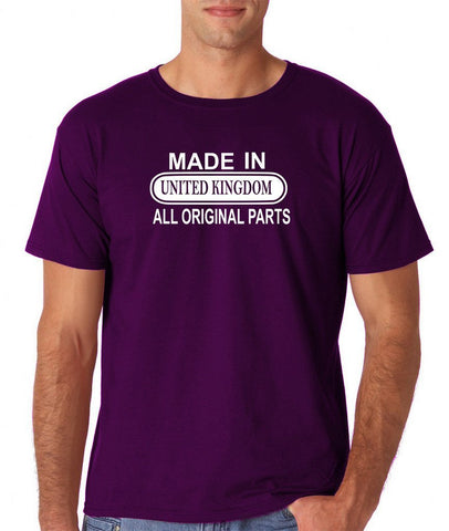 Made In United Kingdom All Orignal Parts Men T Shirts White-Gildan-Daataadirect.co.uk