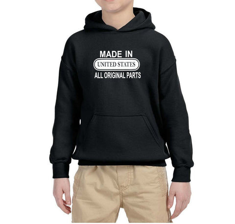 Made in United States All Original Parts Kids Hoodie White-Gildan-Daataadirect.co.uk