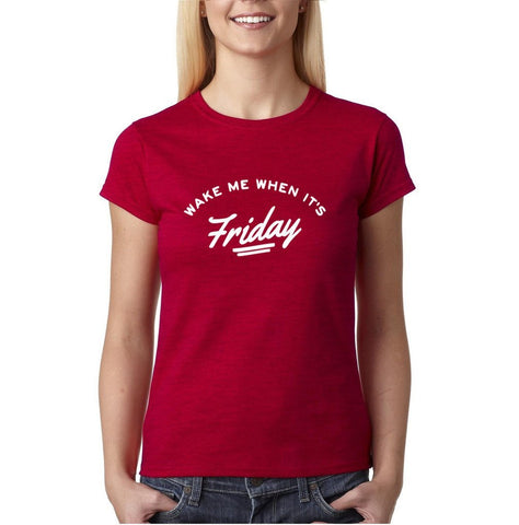 Make Me Up When Its Friday Party Club Women T Shirts White-Gildan-Daataadirect.co.uk