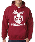 Merry Christmas Cat Mens Hoodies White-Gildan-Daataadirect.co.uk