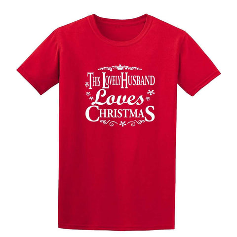 Merry Christmas This Lovely Husband Loves Christmas Mens T-Shirt-Men-T-Shirt-Gildan-Red-XL-Daataadirect
