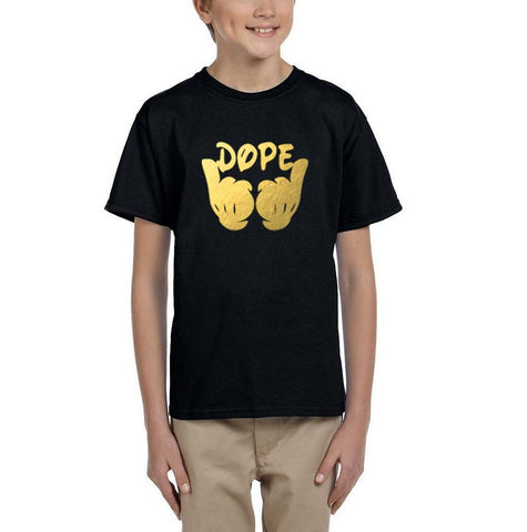 [daataadirect.co.uk]-Mickey Hands - Dope Kids T Shirt Gold-T Shirts-Gildan-Black-YXS (3-5 Year)-Daataadirect