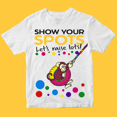 Spotty day Monkey Pudsey Bear Kids T Shirts-Gildan-Daataadirect.co.uk