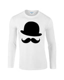 Mustache and Hat Mens Long SleeveT Shirt Black-Gildan-Daataadirect.co.uk