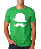 Mustache and Hat Mens T Shirt White-Gildan-Daataadirect.co.uk